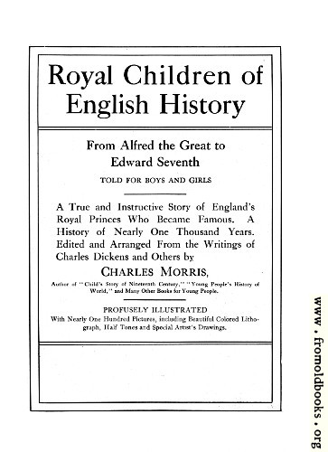 [Picture: Title Page from Royal Children of English History]