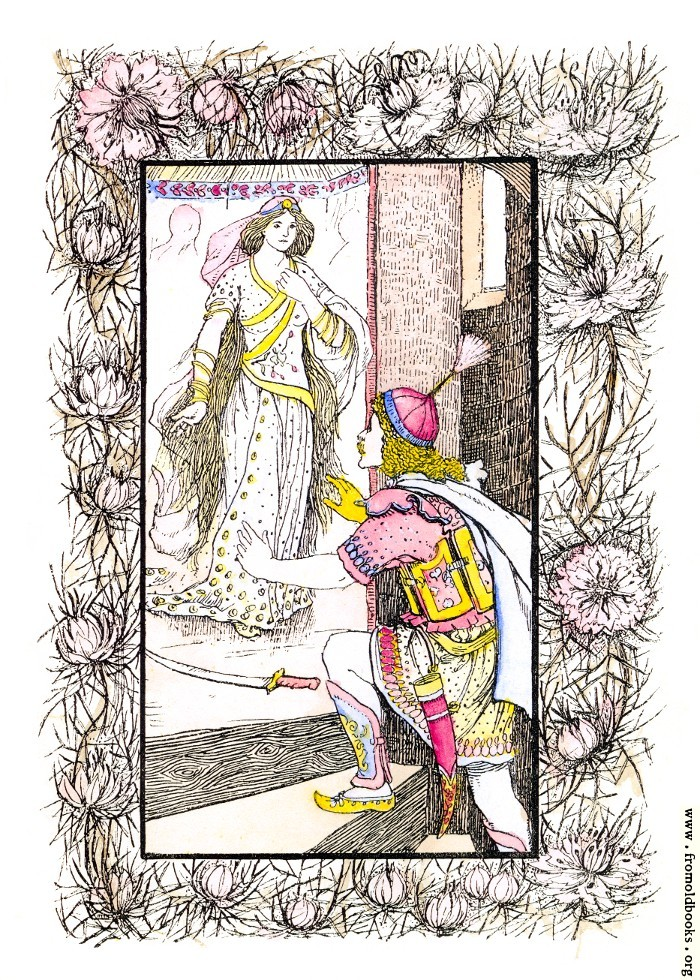 [Picture: The Prince With the Golden Hand (hand-coloured version)]