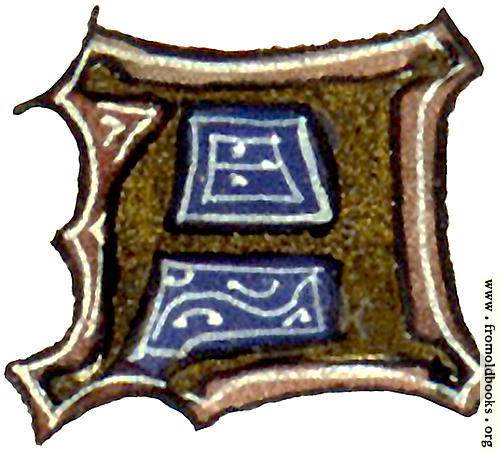 "[Picture: calligraphy: mediaeval decorative letter ""A""]"