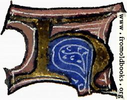 "[Picture: calligraphy: mediaeval decorative letter ""H""]"