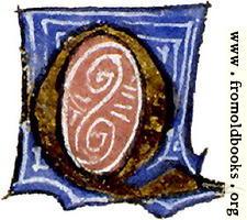 "[Picture: calligraphy: mediaeval decorative letter ""Q""]"