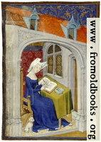 [picture: folio 4/recto, illumination, woman writing]