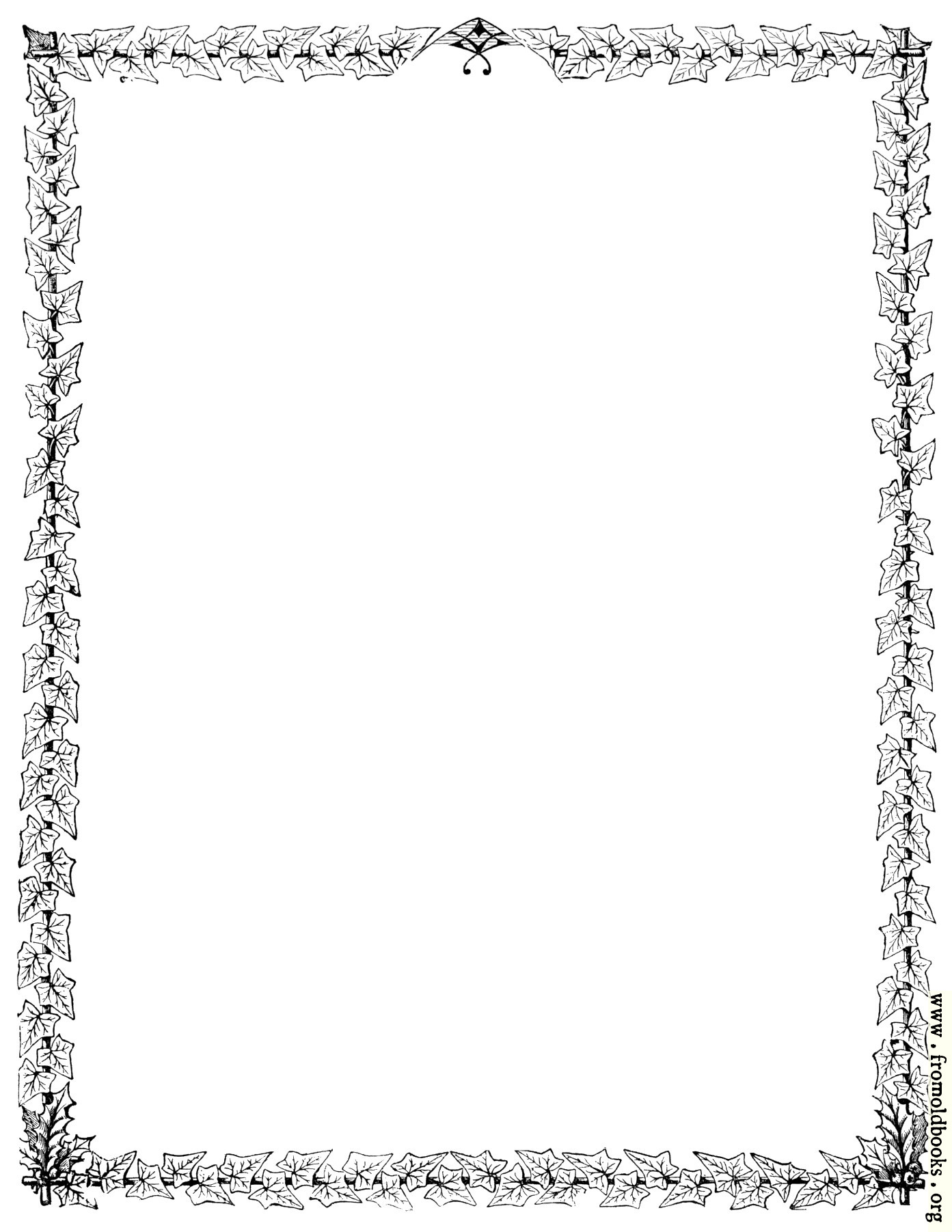 full page holly and ivy border us letter sized