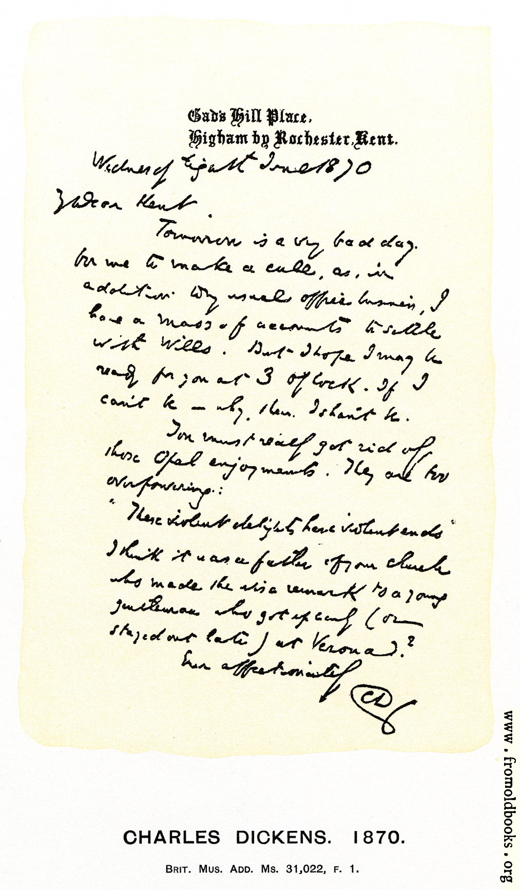 [Picture: Charles Dickens: Letter Written the Day before His Death]