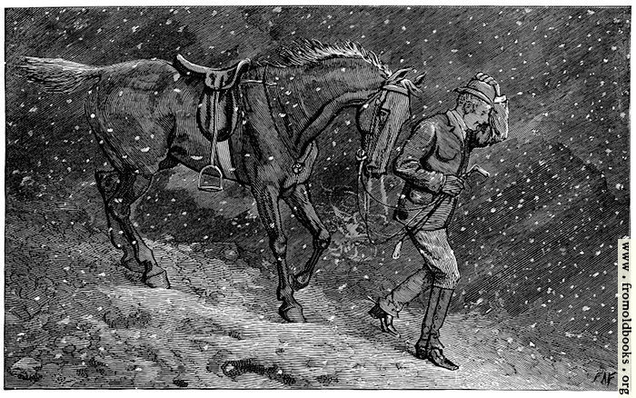 [Picture: A man leads a horse through the snow, at night]