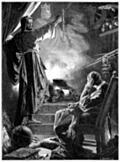 Catherine de Medici in front of the magic mirror of her astrologer Cosimo Ruggieri