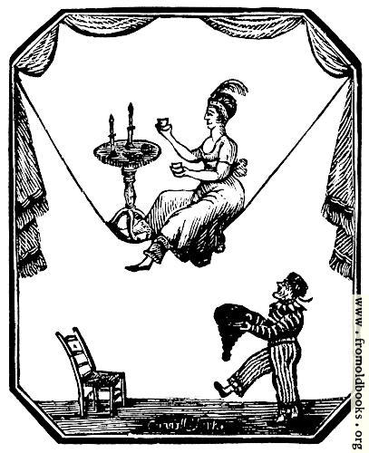 [Picture: 885.—Tightrope artist with table and candles and dwarf.]