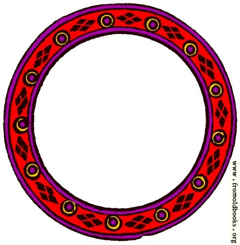 [Picture: 1085.—Circular border of frame, red purple yellow and brown.]