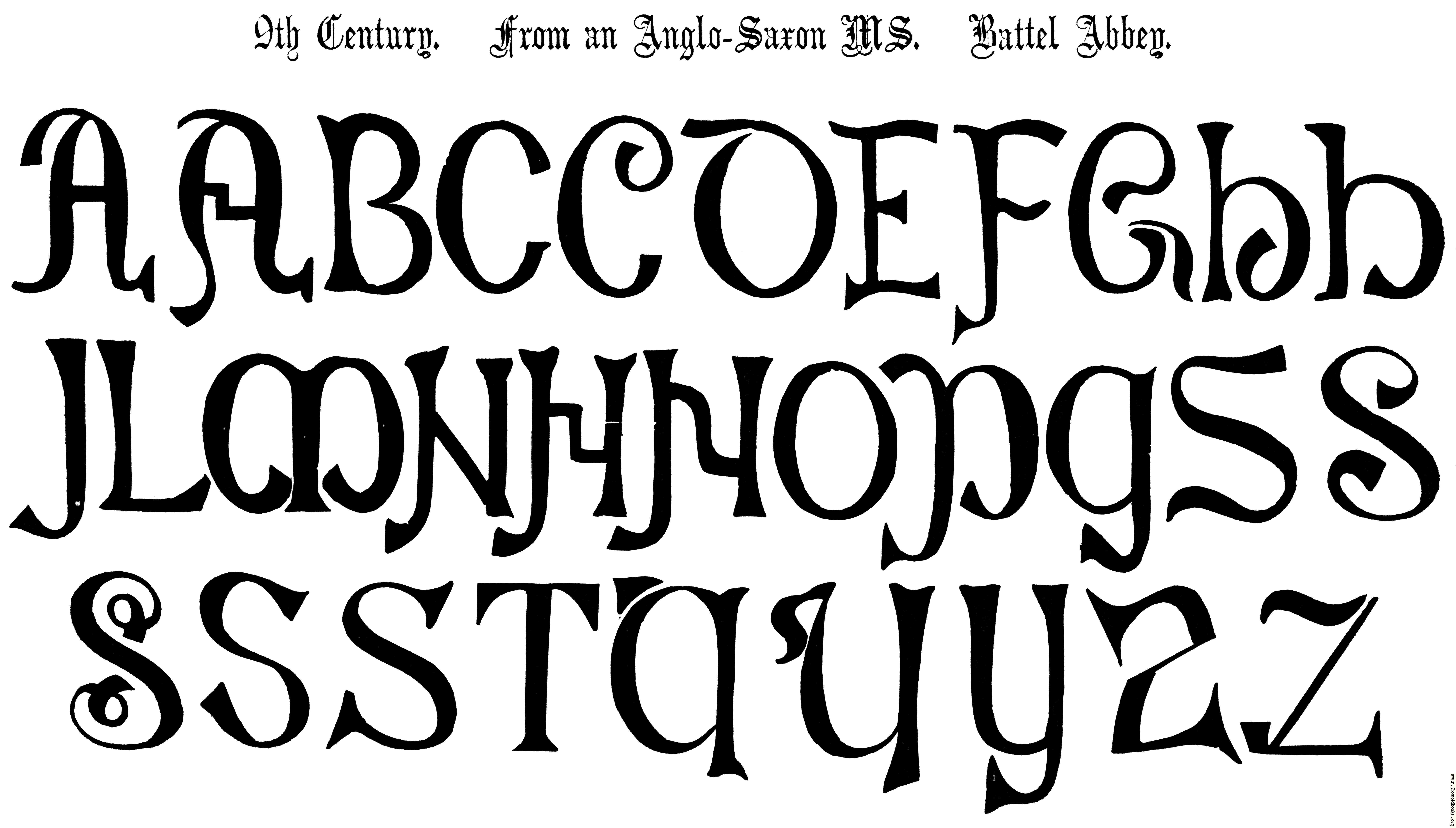 [Picture: 4.—9th Century. From an Anglo-Saxon MS.  Battel Abbey.]