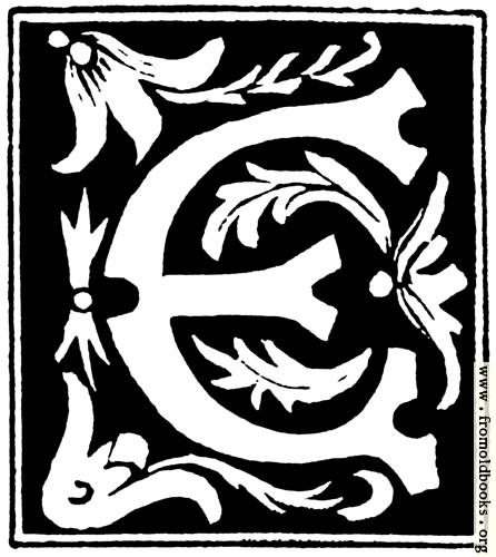 """[Picture: Decorative initial letter """"E"""" from 16th Century]"""