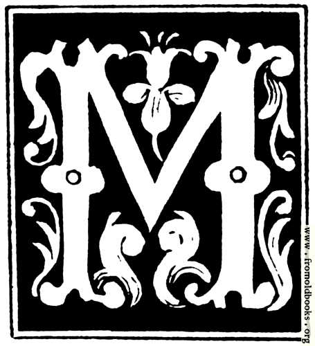 """[Picture: Decorative initial letter """"M"""" from 16th Century]"""