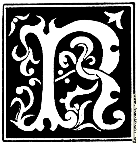 """[Picture: Decorative initial letter """"R"""" from 16th Century]"""