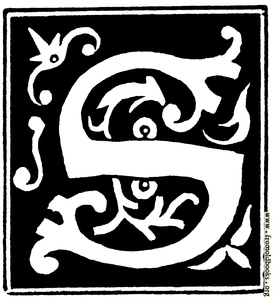 """[Picture: Decorative initial letter """"S"""" from 16th Century]"""