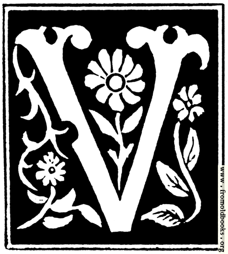 """[Picture: Decorative initial letter """"V"""" from 16th Century]"""