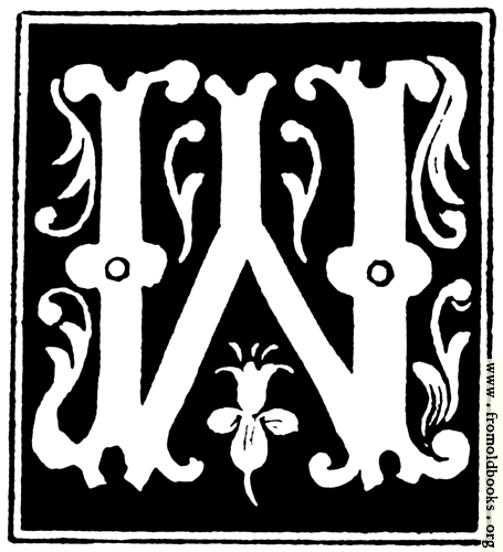 """[Picture: Decorative initial letter """"W"""" from 16th Century]"""