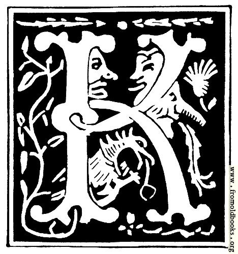 "[Picture: Decorative initial letter ""K"" from 16th Century]"