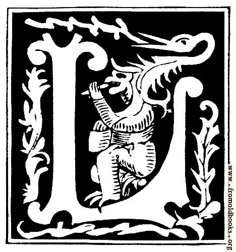 "[Picture: Decorative initial letter ""L"" from 16th Century]"