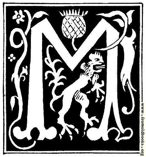 "[Picture: Decorative initial letter ""M"" from 16th Century]"