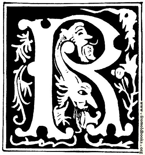 "[Picture: Decorative initial letter ""R"" from 16th Century]"