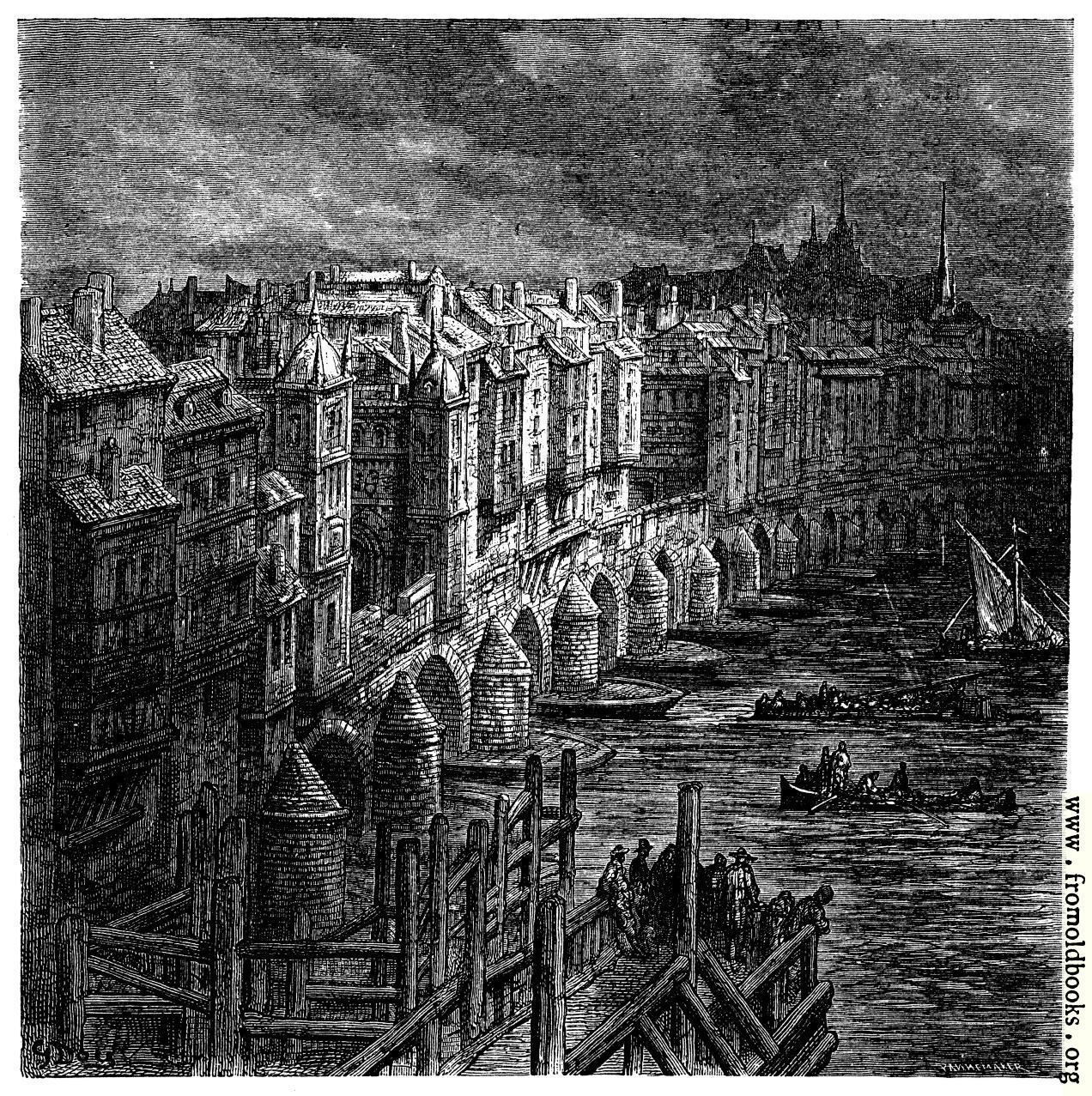 [Picture: London Bridge in 1694]