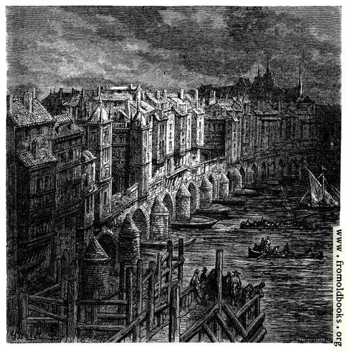 [Picture: London Bridge in 1694]