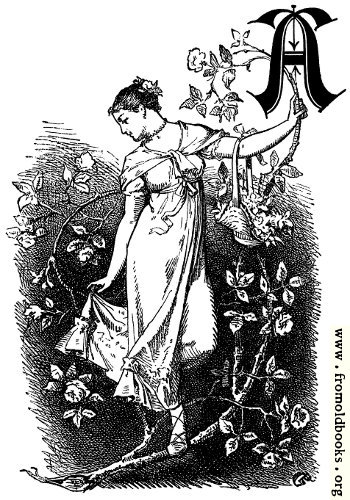 "[Picture: Decorative initial ""A"" with girl and roses]"