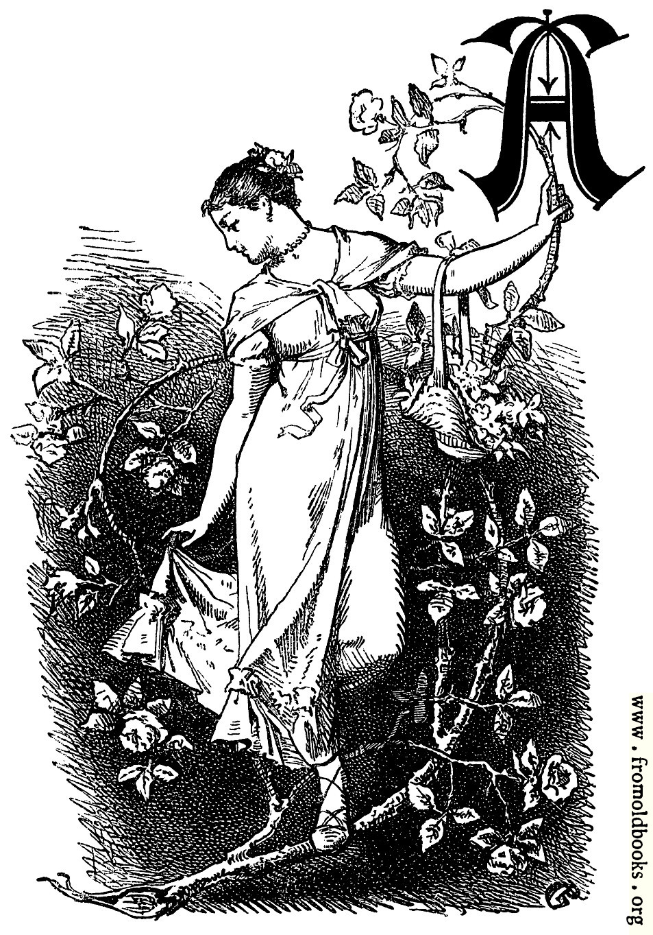 """[Picture: Decorative initial """"A"""" with girl and roses]"""