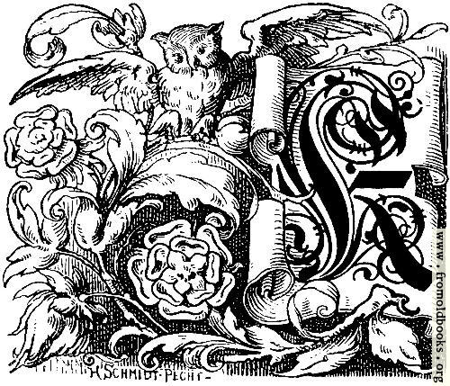 "[Picture: Decorative initial ""K"" on scroll with owl and roses]"