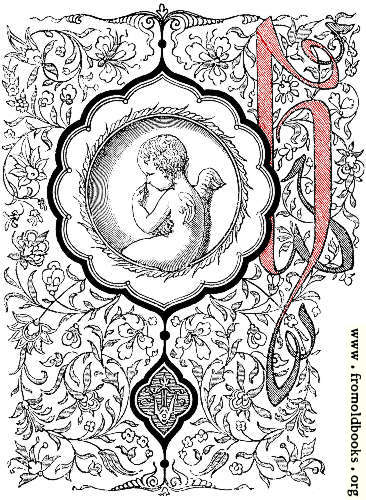 "[Picture: Elaborate decorative initial letter ""h"" with cherub]"