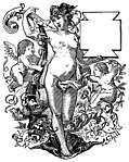 Romantic Woman with Cherubs and Cartouche