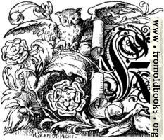 [picture: Decorative initial ``K'' on scroll with owl and roses]