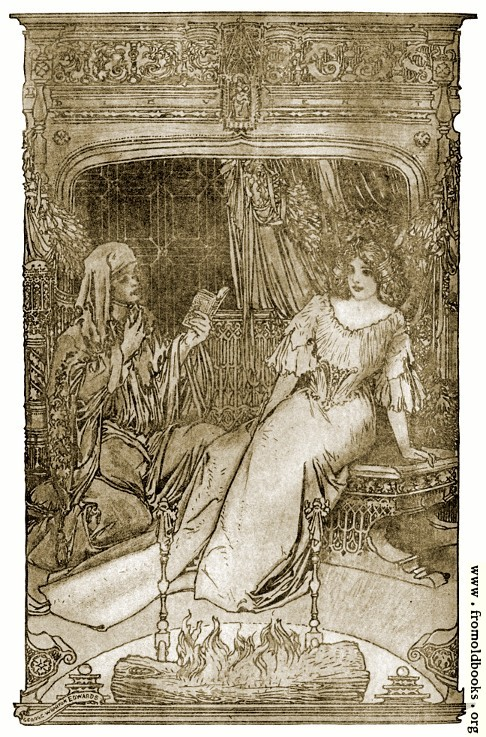 [Picture: End Paper: the young mad read to her from a small book.]
