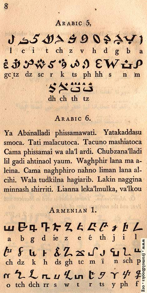 [Picture: Page 8: Arabic (African); Lord's Prayer in Arabic; Armenian]