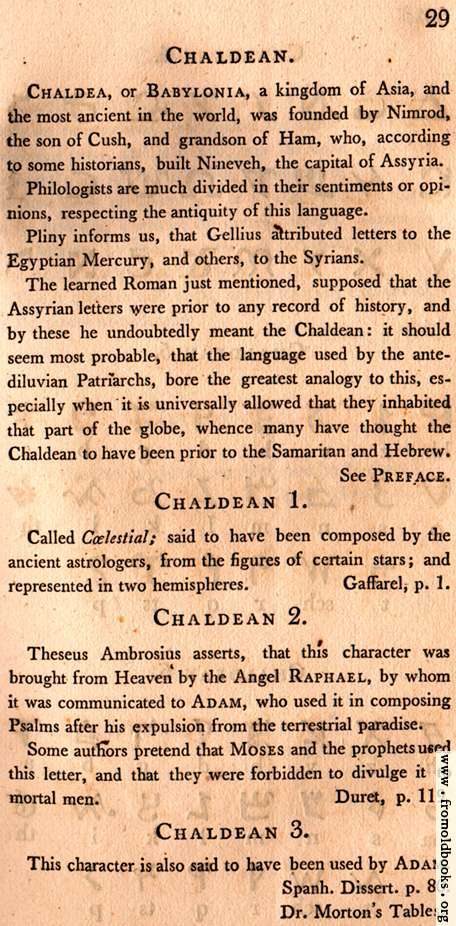 [Picture: Page 29: Chaldean (English description)]