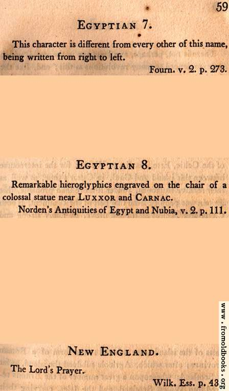 [Picture: Page 59: Egyptian 7 and 8; New England (English descriptions)]