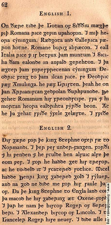 [Picture: Page 62: English 1; English 2 (Old English, as written by Anglo-Saxons)]