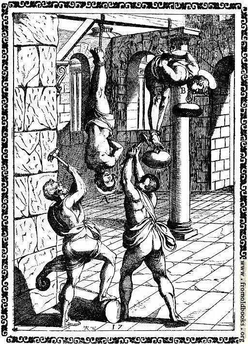 [Picture: 4.—Suspended by the feet, and the head beaten with hammers, etc.]