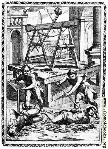 [Picture: 20.—Tortured with quicklime, boiling oil, etc.]
