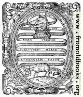 Title page detail: heraldic scrollwork
