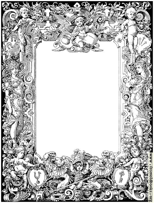 [Picture: Ornate baroque-stye border with herubs and gryphons]