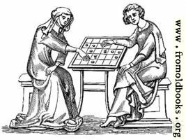 Lady and Youth Playing Draughts,