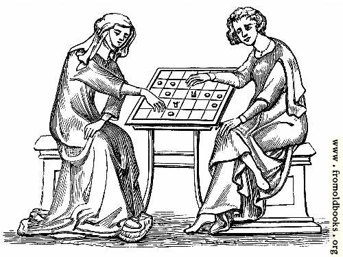 [Picture: Lady and Youth Playing Draughts,]