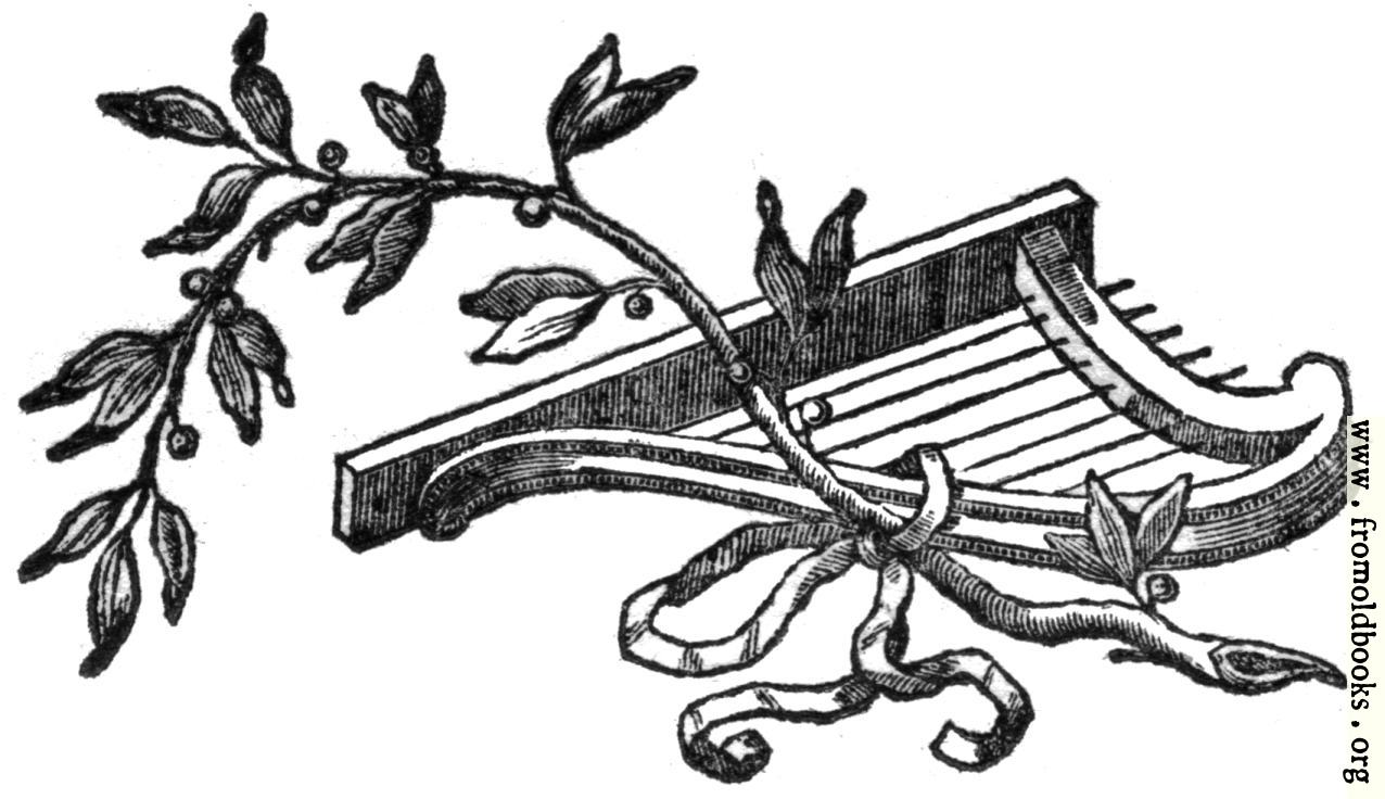 [Picture: Printer's Ornament with harp and vine]