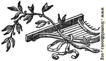 [Picture: Printer's Ornament with harp and vine]