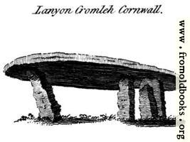 Lanyon Cromleh Cornwall.  From the Druidical Antiquities plate.