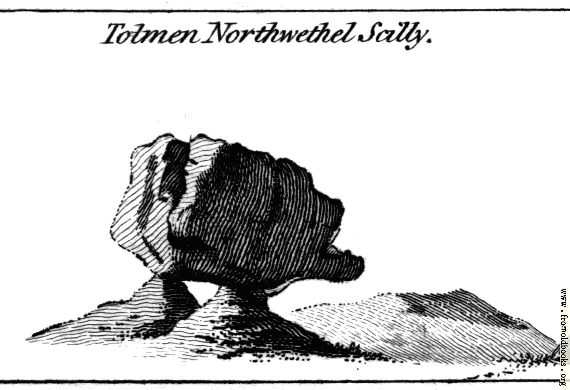 [Picture: Tolmen Northwethel Scilly.  From the Druidical Antiquities Plate.]