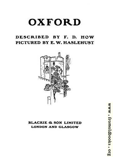 [Picture: Title page, Oxford Pictured by Haslehust, described by How]