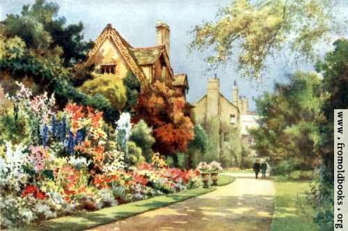[Picture: The Cottages, Worcester College Gardens, Oxford, with flowers]