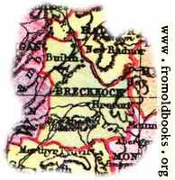 Overview map of Brecknockshire, Wales