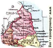 Overview map of Northumberland, England